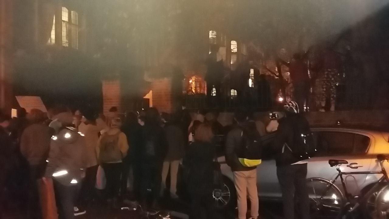 Protestors gather outside Corey Lewandowski's Oxford Union address