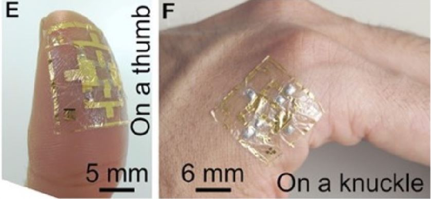 Wearable electronic skin used to control virtual objects