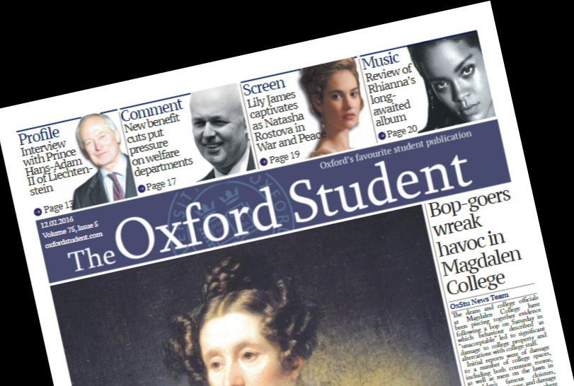 Student purposely reads The Oxford Student