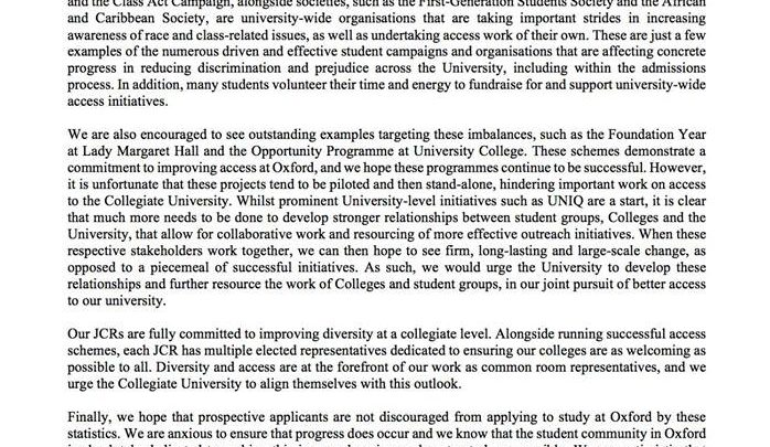 JCR Presidents release open letter over admissions