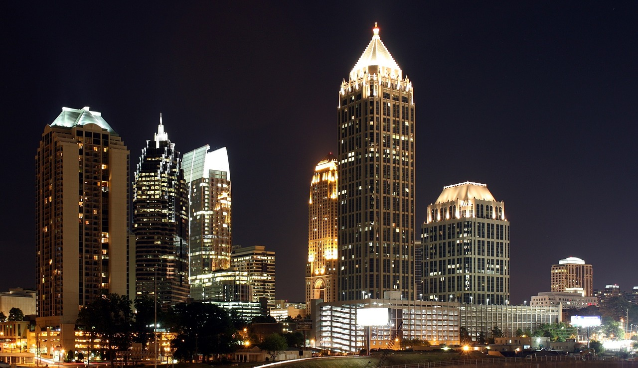 The Atlanta skyline at night