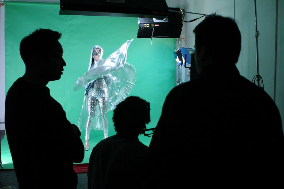 Michael Martinez shooting a music video in green screen