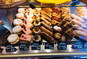 Just some of the chocolates and other desserts on offer in a Parisian patisserie