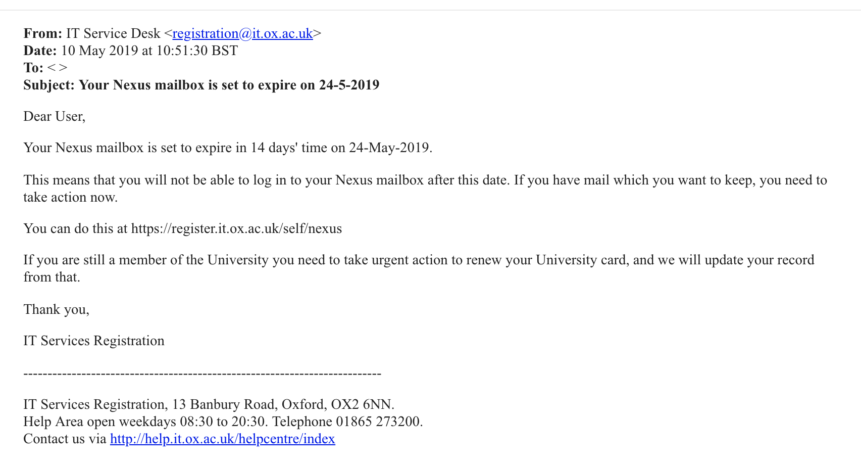 Deceptive Phishing Email Sent To Oxford Students At Magdalen And