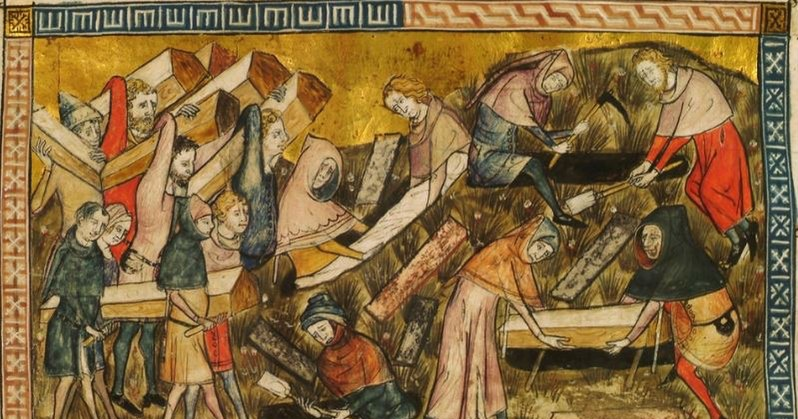 Medieval artwork depicting black death