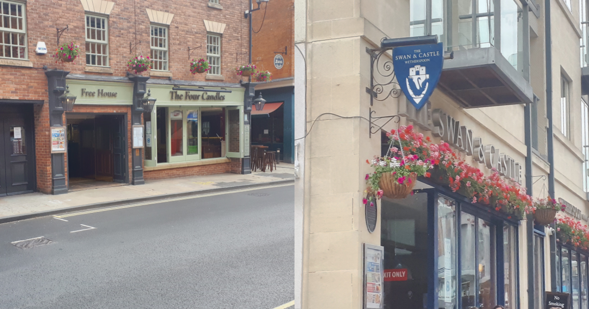 A photo of the Swan and Castle pub and a photo of the Four Candles pub side by side