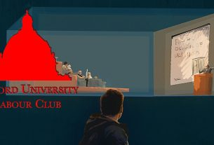 OULC logo on top of an illustration of a student looking onto a lecture theatre portrayed as a glass box