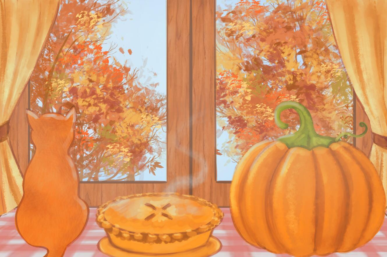 A drawing of a steaming pie on a windowsill next to an orange cat and a pumpkin.