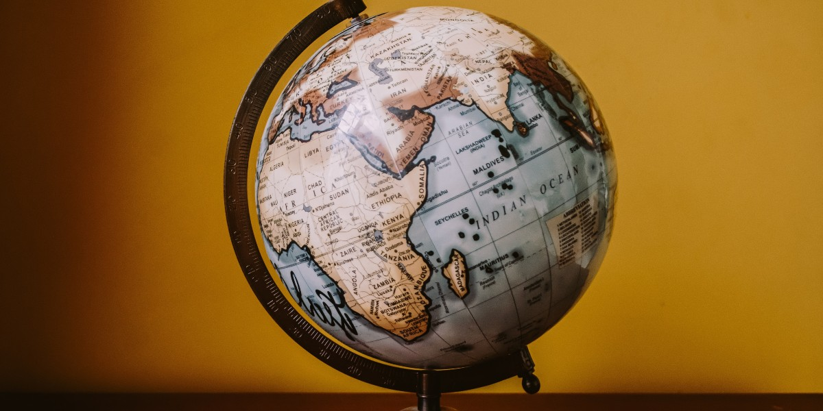 A globe showing part of the world map including Africa.d